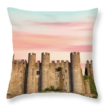 Medieval Castle Of Obidos Throw Pillow