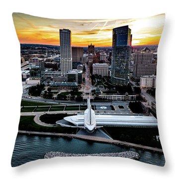 Throw Pillow featuring the photograph Milwaukee Sunset by Randy Scherkenbach
