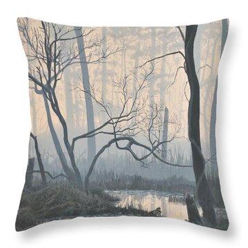 Misty Hideaway - Wood Duck Throw Pillow