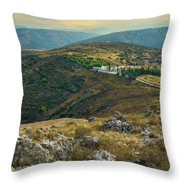 Monastery Agion Anargiron Above Argos Throw Pillow