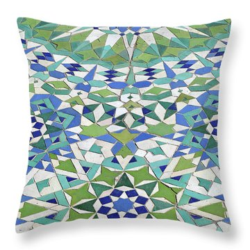 Mosaic Exterior Decorations Of The Hassan II Mosque Throw Pillow