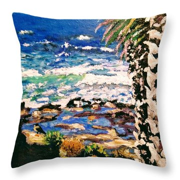 Throw Pillow featuring the painting My Bird by Ray Khalife