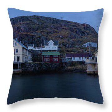 Norwegian Seaside Town Nyksund Throw Pillow