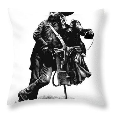 Organ Grinder Throw Pillow