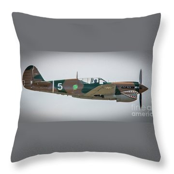 Throw Pillow featuring the photograph P-40 Warhawk by Tom Claud