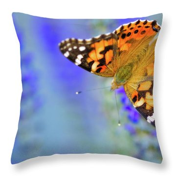 Throw Pillow featuring the photograph Painted Lady Butterfly by Nicole Young