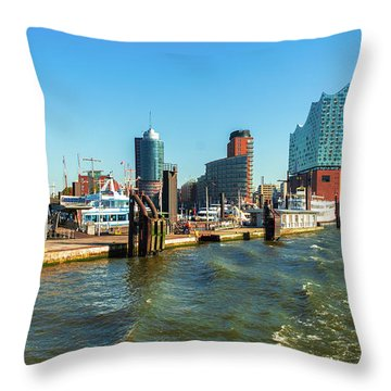 Panoramic View Of Hamburg. Throw Pillow
