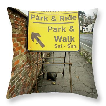 Park And Ride Sign Throw Pillow