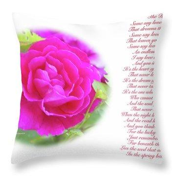 Pink Rose And Song Lyrics Throw Pillow