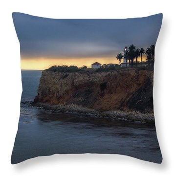 Point Vicente Lighthouse At Sunset Throw Pillow