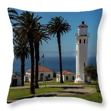 Throw Pillow featuring the photograph Point Vicente Lighthouse by Ed Clark