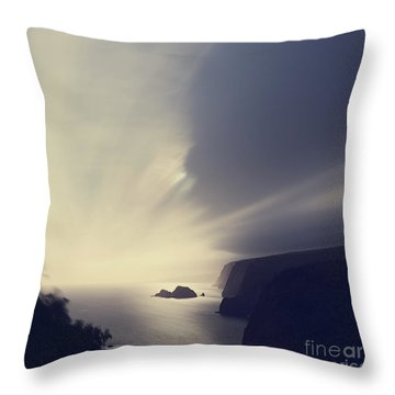 Throw Pillow featuring the photograph Pololu Valley Moonrise - Hipster Photo Square by Charmian Vistaunet