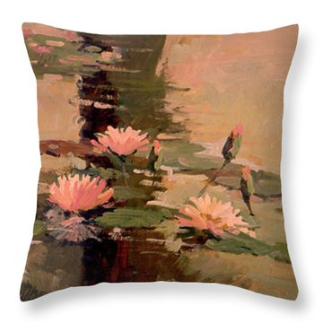 Pond Blossoms - Water Lilies Throw Pillow