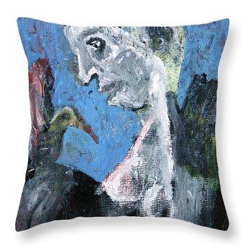Portrait With A Bird Throw Pillow