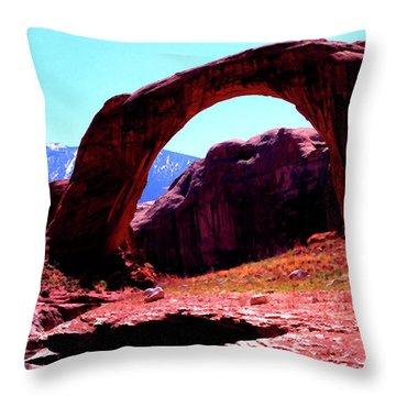 Rainbow Bridge And Navajo Mountain  Throw Pillow