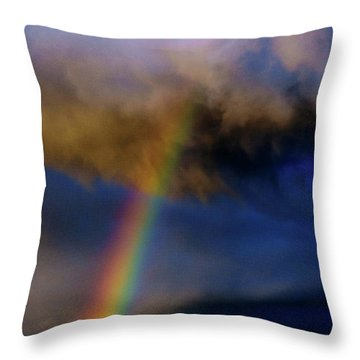 Rainbow During Sunset Throw Pillow