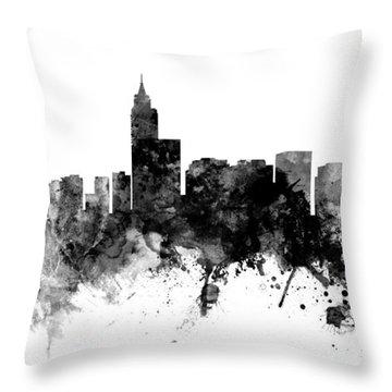 Raleigh North Carolina Skyline Panoramic Throw Pillow