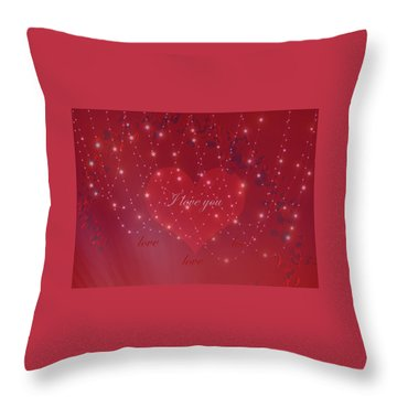 Throw Pillow featuring the digital art Red Love Valentines Day Card by Johanna Hurmerinta