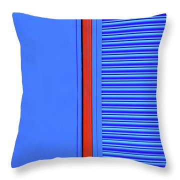 Blue With Red Stripe Throw Pillow
