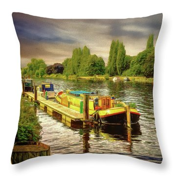 River Work Throw Pillow