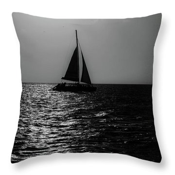 Sailing Into The Sunset Black And White Throw Pillow