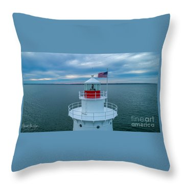Throw Pillow featuring the photograph Sakonnet Lighthouse  by Michael Hughes