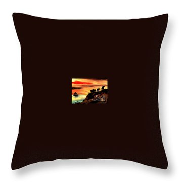 Throw Pillow featuring the painting Sceilig Micil From Teraught, Kerry by Val Byrne