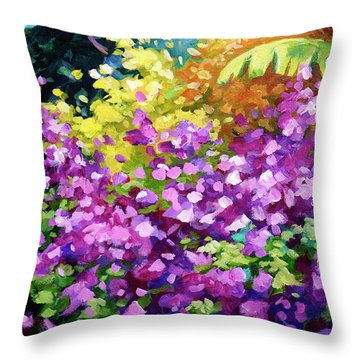 Scene With Bougainvillea  Throw Pillow