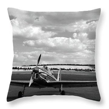 Silver Airplane Duxford England Throw Pillow