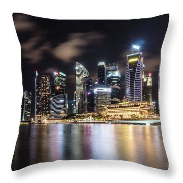 Singapore By Night Throw Pillow