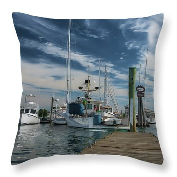 Throw Pillow featuring the photograph South Freeport Pier  by Guy Whiteley