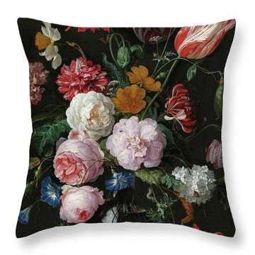 Still Life With Flowers In A Glass Vase, 1683 Throw Pillow