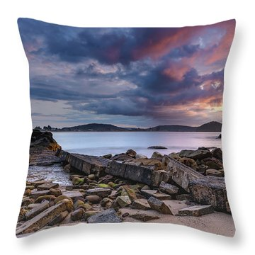 Stormy Sunrise Seascape Throw Pillow