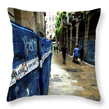 Throw Pillow featuring the photograph Street, Graffiti by Edward Lee