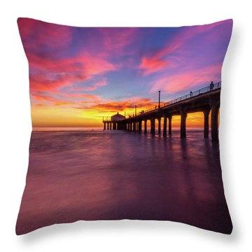 Stunning Sunset At Manhattan Beach Pier Throw Pillow