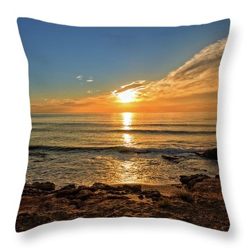 The Calm Sea In A Very Cloudy Sunset Throw Pillow