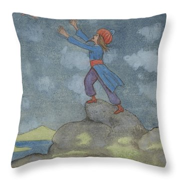 Throw Pillow featuring the drawing The Story Of The Magician And The Wonderful Bird by Ivar Arosenius
