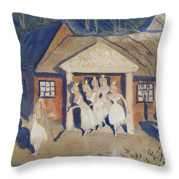 Throw Pillow featuring the drawing The Story Of The Six Princesses by Ivar Arosenius