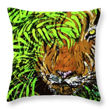 Tiger In Bamboo Throw Pillow