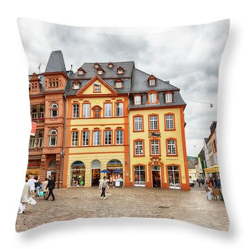 Trier, Germany,  People By Market Day Throw Pillow