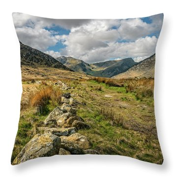 Tryfan Mountain Valley Throw Pillow