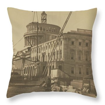 United States Capitol Under Construction Throw Pillow