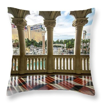 Throw Pillow featuring the photograph Views Of Las Vegas Nevada Strip In November by Alex Grichenko