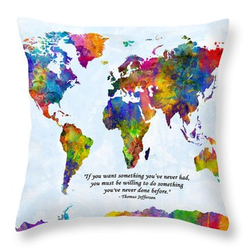 Watercolor World Map Custom Text Added Throw Pillow