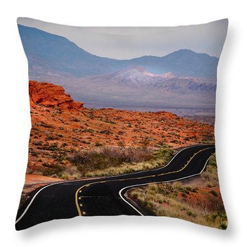 Winding Road In Valley Of Fire Throw Pillow