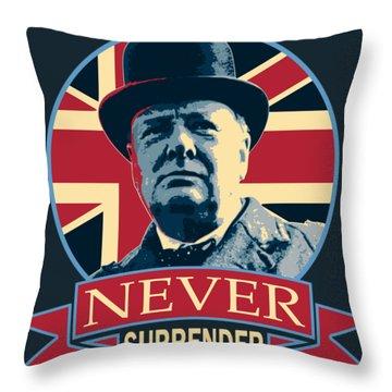 Winston Churchill Never Surrender Throw Pillow