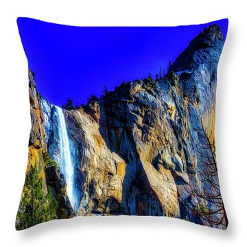 Winter Bridalveil Falls Throw Pillow