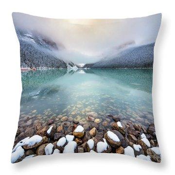 Winter Morning At Lake Louise Throw Pillow