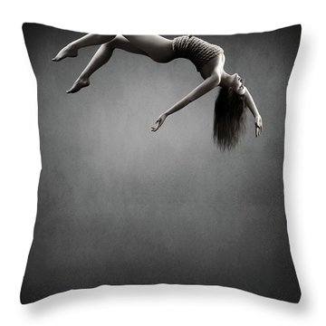 Woman Hanging On A Rope Throw Pillow