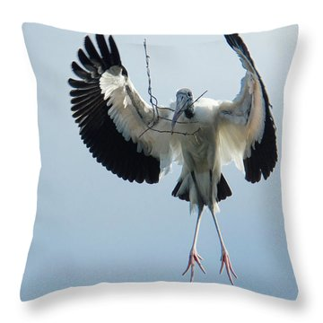 Woodstork Nesting Throw Pillow
